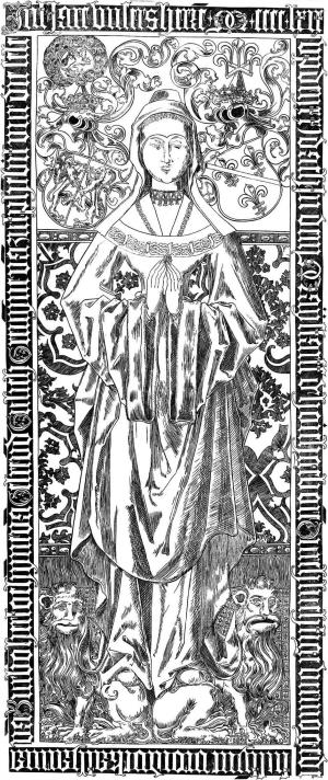 Tomb of Catherine of Bourbon: drawing of effigial brass