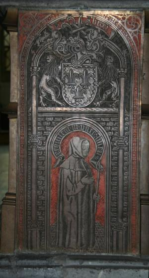 Tomb of Catherine of Bourbon: weeper (brass on  west side of tomb)