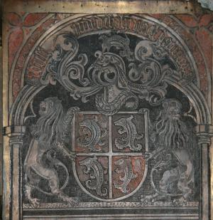 Tomb of Catherine of Bourbon: detail of heraldry