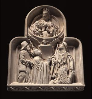 Memorial sculpture with the Virgin and Child and the devotional portrait of a canon