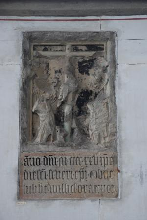 Crucifixion with memorial text to Lubbert Willemsz.