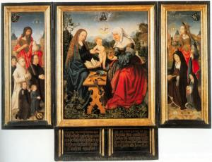 Virgin and Child with St Anne ('Anna Selbdritt') with devotional portraits of the Van Beesd Van Heemskerck-Van Diemen family (opened state)