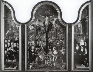 Crucifixion with devotional portraits of the Kievit family (opened state)