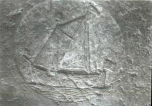 Floor slab of unknown person(s): detail of ship