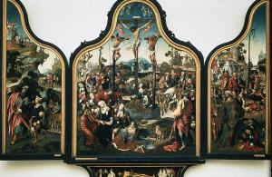 Crucifixion with devotional portraits of Jacob Martensz. Schout, his mother(?) and five female members of a convent (opened state)