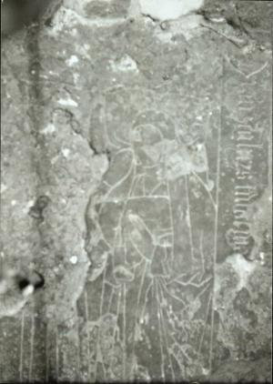 Floor slab of unknown person(s): detail of female effigy
