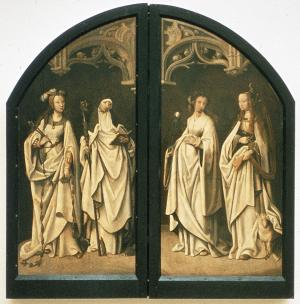 Female saints and heraldic shields (closed state)