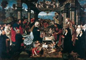 Adoration of the Shepherds with devotional portraits of the Boelen family