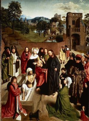 Raising of Lazarus with devotional portraits of an unknown family