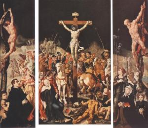 Crucifixion with devotional portraits of an unknown family