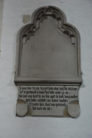 Remnants of a memorial piece of Nicolaas van Sperwoude and his mother
