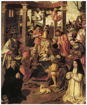 Adoration of the Magi with devotional portraits of Klaas Hendriksz. Basgen and his daughter Neel