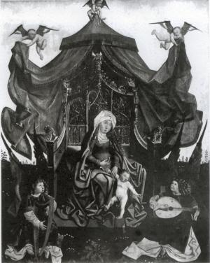 Virgin and Child and Music-Making Angels with heraldic shields of Albrecht van Hogendorp(?) (central panel)