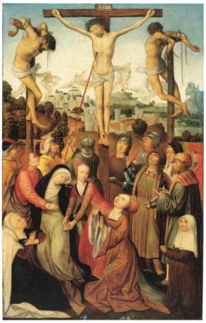 Crucifixion with devotional portrait of a female member of a convent