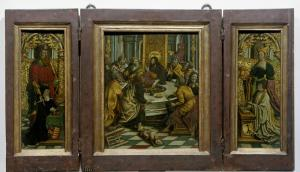 Last Supper with devotional portraits of Adriana van Roon and Dirk Pietersz. Spangert
