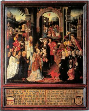 Adoration of the Magi with devotional portraits of the Van Schayck family