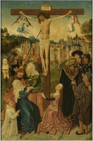 Crucifixion with devotional portrait of a male member of a convent