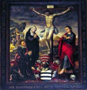 Crucifixion with devotional portrait of Joseph Truchsess von Rheinfelden