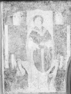 Unknown male saint with devotional portraits of four unknown persons