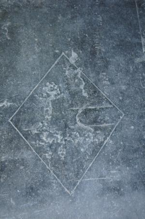 Floor slab of Mariken, daughter of Joest Ruychrock: detail of shield