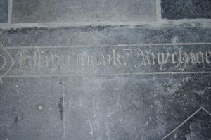 Floor slab of Mariken, daughter of Joest Ruychrock: detail of inscription on right edge