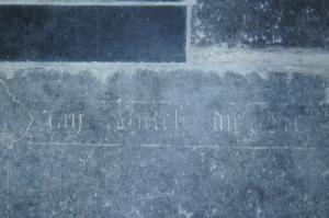Floor slab of Jan [...]eech: detail of inscription on the right edge