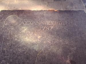 Floor slab of an unknown person and A.E. van Weerden, bottom