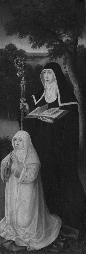 Devotional portrait of a female member of a convent with St Gertrude of Nivelles