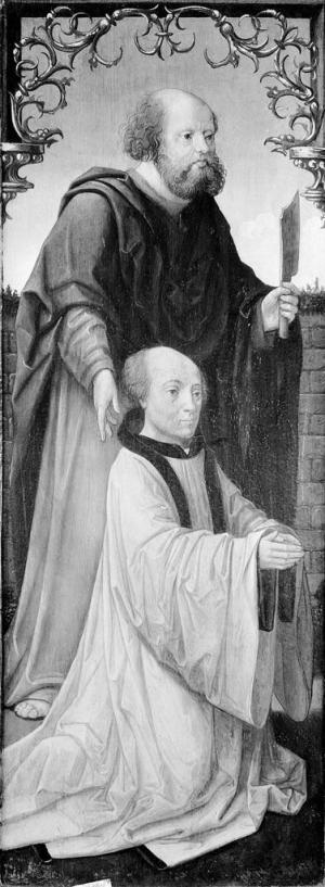 Devotional portrait of a member of the clergy with St Bartholomew(?)