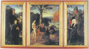 Temptation of St Anthony with devotional portraits of a man and a woman