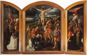 Crucifixion with devotional portraits of Dirk van Noordwijk and Tieleman Oem van Wijngaarden