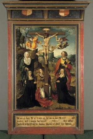 Crucifixion with devotional portraits of Hadewych van Hardenbroeck and Agnes van Ghent