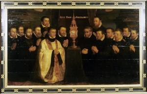 Devotional portraits of members of a Confraternity of the Blessed Sacrament around a monstrance