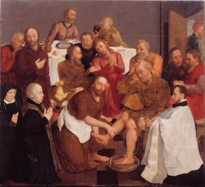 Christ Washing the Feet of the Disciples with devotional portraits of the Borre van Amerongen-Van Rijsenburgh family; front of the painting