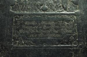 Floor slab of unknown person(s), detail lower text field