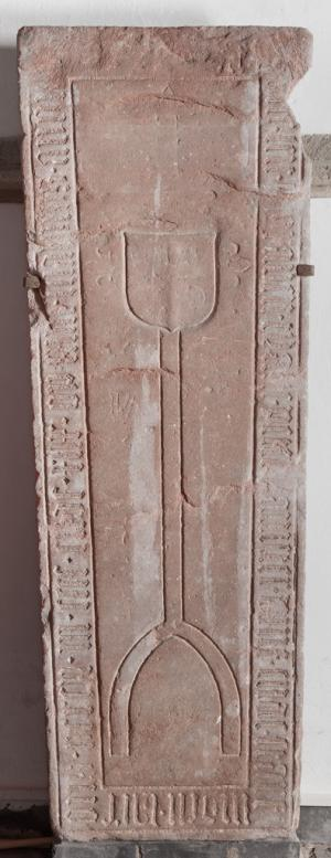 Sarcophagus lid(?); floor slab of Tja[...]e, wife of Peter Banister, and possibly another person