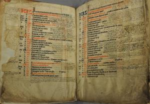 Missal of the parish church in Lopik, ff. 2v-3r: Calendar of saints with memorial services