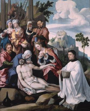 Lamentation over the Dead Christ with devotional portrait of a canon