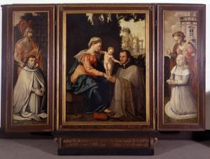 Virgin and Child with devotional portraits of the De Visscher van der Gheer family (opened state)
