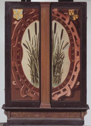 Oval strapwork cartouche with bulrushes (closed state)