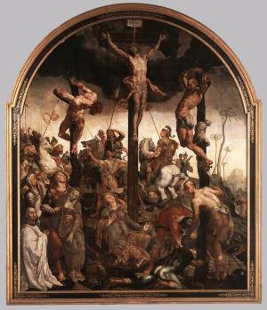 Crucifixion with devotional portrait of a member of the clergy