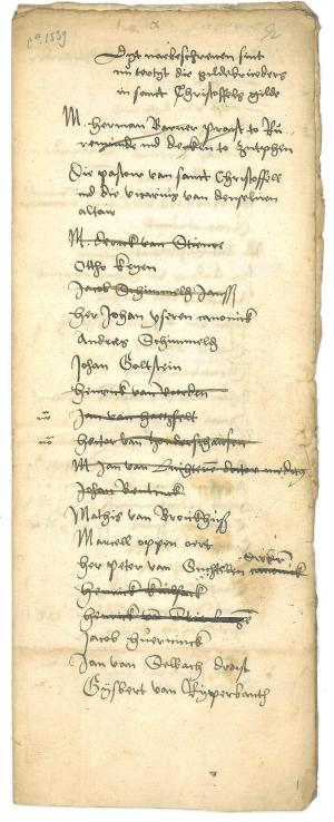 List of members of the Christoffelgilde, ca.1539