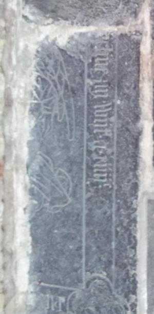 Floor slab of [...]eline and her husband