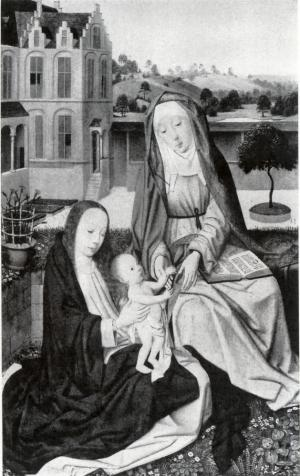 Virgin and Child with St Anne ('Anna Selbdritt') (interior left wing)