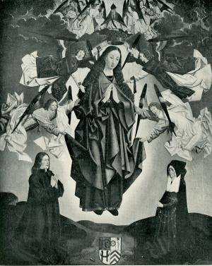 Assumption of the Virgin with devotional portraits of the Sill family (before restoration)