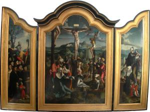 Crucifixion with devotional portraits of the Hallinc-Bogaards family (opened state)