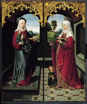 Virgin and Child with St Anne, and St Elizabeth of Hungary (closed state)