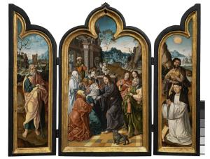 Scenes from the Life of Christ with devotional portrait of a male member of a convent  (opened state)
