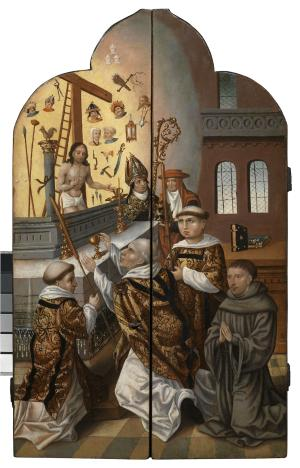 Mass of St Gregory with devotional portrait of a male member of a convent (closed state)