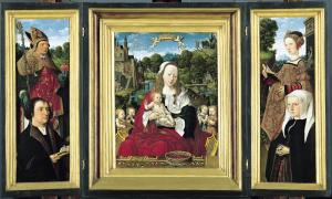 Virgin and Child and Music-Making Angels with devotional portraits of Augustijn van Teylingen and Josina van Egmond van der Nijenburg (opened state)